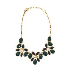 Emerald green and navy statement necklace